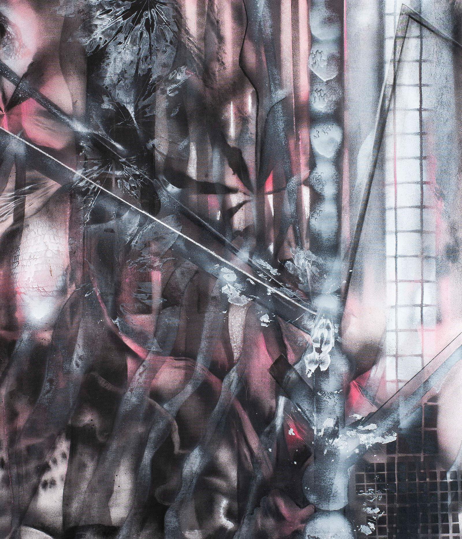Jungle | Acryl spray, krijt en houtskool op rolgordijn, 80 x 94