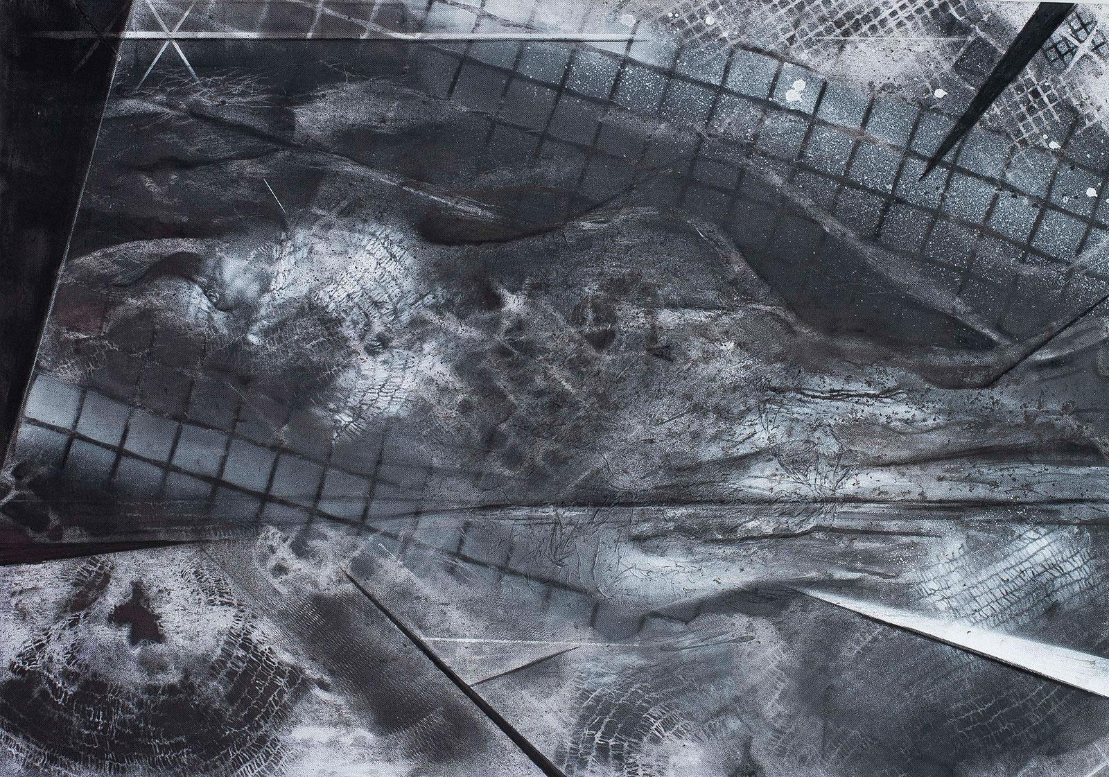 Sky view lite | Inkt en houtskool op canvas, 100 x 70