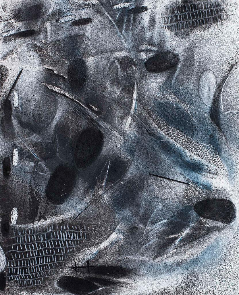 Trudy's XRay #2 | Acryl spray, inkt en houtskool op papier, 35 x 44